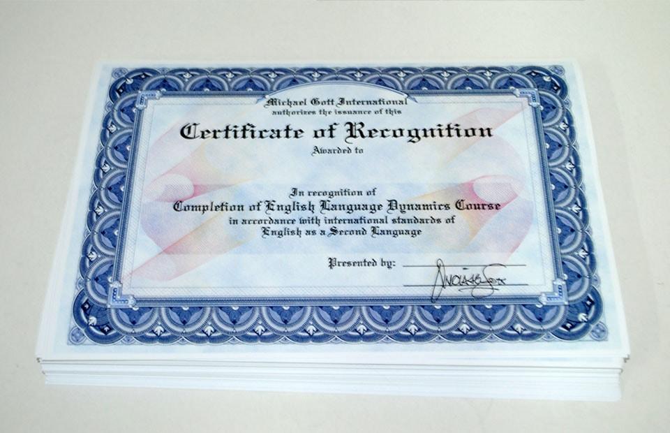 ламінування сертифікатів